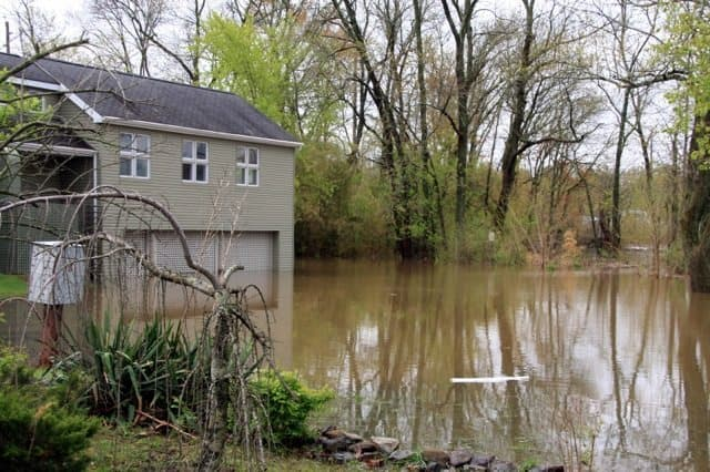 Flooding reached the first floor of homes on Mapleton Road. Photo: Shani Abel.