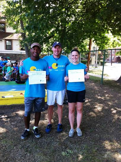 Senior Program Director Paul Zeger (center) with Jordan McDonald of Franklin Park and Samantha Adamczyk of Lawrenceville,